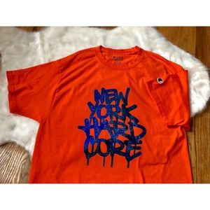 NYHC Orange Champion T-Shirt Blue Hologram Detail